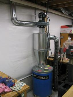 Cyclone Dust Collector - 6 inch inlet on Left, made from gal